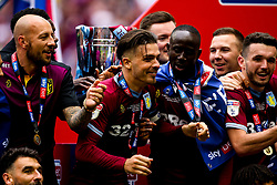 Jack Grealish of Aston Villa and his teammates celebrate winning promotion to the Premier League after beating Derby County in the Sky Bet Championship Playoff Final - Mandatory by-line: Robbie Stephenson/JMP - 27/05/2019 - FOOTBALL - Wembley Stadium - London, England - Aston Villa v Derby County - Sky Bet Championship Play-off Final