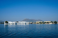 UDAIPUR, INDIA - CIRCA NOVEMBER 2016:  Lake Palace Hotel formerly known as Jag Niwas in Lake Pichola in Udaipur