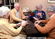 Active Aging Senior Citizens, Retired, Activities, Two Elderly Couples, Playing Cards, Home