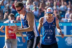 25-08-2019 NED: DELA NK Beach Volleyball, Scheveningen<br /> Last day NK Beachvolleyball / Christiaan Varenhorst #2, Alexander Brouwer #1