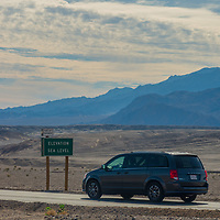 A road sign indicates sea level in California's Death Valley National Park, the lowest place in North America.