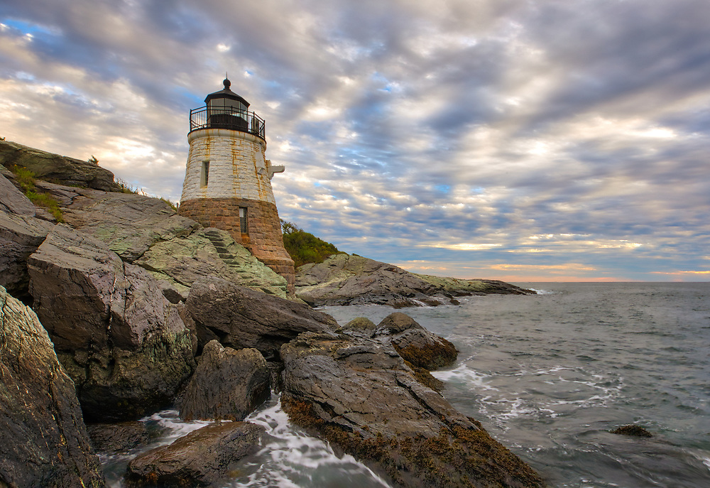 New England photography of the historic Castle Hill Lighthouse photographed minutes before sunset. This iconic Rhode Island lighthouse is located at Narragansett Bay in Newport, RI.<br /> <br /> Photos of Rhode Island lighthouses are available as museum quality photography prints, canvas prints, acrylic prints, wood prints or metal prints. Fine art prints may be framed and matted to the individual liking and interior design decorating needs:<br /> <br /> https://juergen-roth.pixels.com/featured/rhode-island-castle-hill-lighthouse-juergen-roth.html<br /> <br /> Good light and happy photo making!<br /> <br /> My best,<br /> <br /> Juergen<br /> Photo Prints: http://www.rothgalleries.com<br /> Photo Blog: http://whereintheworldisjuergen.blogspot.com<br /> Instagram: https://www.instagram.com/rothgalleries<br /> Twitter: https://twitter.com/naturefineart<br /> Facebook: https://www.facebook.com/naturefineart