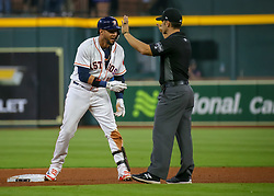April 30, 2018 - Houston, TX, U.S. - HOUSTON, TX - APRIL 30:  Houston Astros first baseman Yuli Gurriel (10) doubled to deep left in the bottom of the fourth inning during the baseball game between the New York Yankees and Houston Astros on April 30, 2018 at Minute Maid Park in Houston, Texas.  (Photo by Leslie Plaza Johnson/Icon Sportswire) (Credit Image: © Leslie Plaza Johnson/Icon SMI via ZUMA Press)