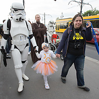 "Hungarian Star Wars fans celebrate the ""May the 4th be with you"" day marching dressed as their favourite movie characters in downtown Budapest, Hungary on May 04, 2016. ATTILA VOLGYI"