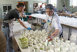 © Licensed to London News Pictures. 24/04/2020. London, UK. Staff and volunteers from Refettorio Felix  prepare food for the vulnerable at St Cuthbert's Centre in Earls Court. The organisation now provides more than 500 meals a day seeing a ten-fold increase since the Covid 19 outbreak. It also provides meals to refugees, children of NHS staff and to the venerable with mental health issues. Editorial usage only. Photo credit: Ray Tang/LNP