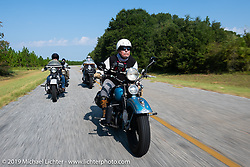 Chris Tribbey riding his 1947 Harley-Davidson WL Flathead in the Cross Country Chase motorcycle endurance run from Sault Sainte Marie, MI to Key West, FL. (for vintage bikes from 1930-1948). Stage-7 covered 249 miles from Macon, GA to Tallahassee, FL USA. Thursday, September 12, 2019. Photography ©2019 Michael Lichter.