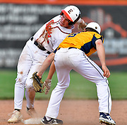 Edwardsville baserunner Evan Funkhouser (left) contorts his body to avoid the tag at second by OFallon shortstop Garrett Meyer. OFallon defeated Edwardsville in a baseball sectional playoff game at Edwardsville High School in Edwardsville, IL on Wednesday June 9, 2021. <br /> Tim Vizer/Special to STLhighschoolsports.com.