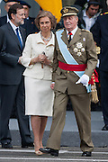 Queen Sofia and King Juan Carlos I, leaving the act