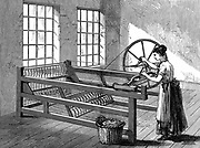 Woman using Spinning Jenny - Invented by James Hargreaves (c1720-78) in 1764. Wood engraving  c1880