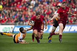 September 9, 2017 - Limerick, Ireland - Ian Keatley of Munster with the ball tackled by Rynier Bernardo of Cheetahs during the Guinness PRO14 rugby match between Munster Rugby and Cheetahs Rugby at Thomond Park in Limerick, Ireland on September 9, 2017  (Credit Image: © Andrew Surma/NurPhoto via ZUMA Press)
