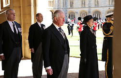 The Duke of York, the Earl of Wessex, the Prince of Wales and the Princess Royal ahead of the funeral of the Duke of Edinburgh at Windsor Castle, Berkshire. Picture date: Saturday April 17, 2021.