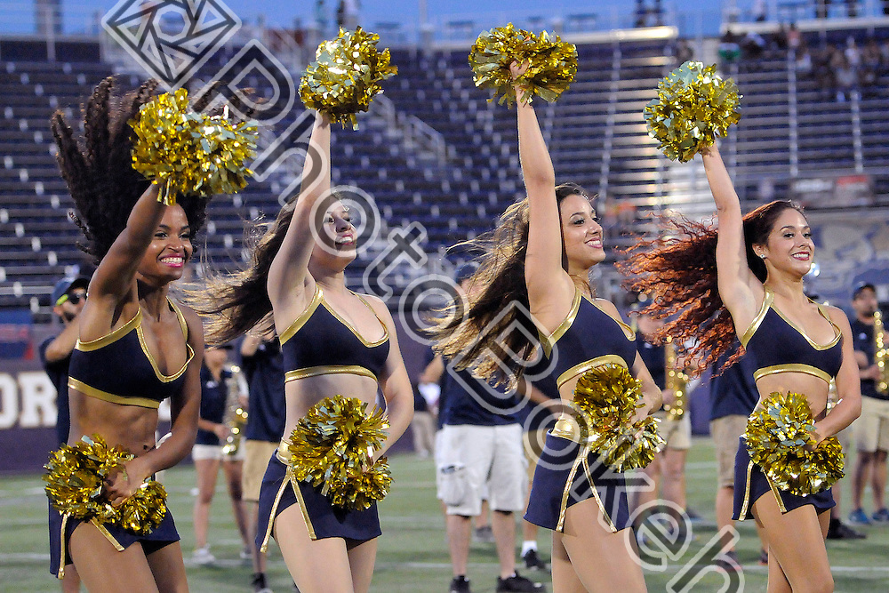 2014 September 06 - FIU Golden Dazzlers performing on the sidelines at Ocean Bank Field, FIU Stadium, Miami, Florida. (Photo by: Alex J. Hernandez / photobokeh.com) This image is copyright by PhotoBokeh.com and may not be reproduced or retransmitted without express written consent of PhotoBokeh.com. ©2014 PhotoBokeh.com - All Rights Reserved