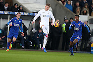 Alfie Mawson of Swansea city © in action. Premier league match, Swansea city v Leicester City at the Liberty Stadium in Swansea, South Wales on Sunday 12th February 2017.<br /> pic by Andrew Orchard, Andrew Orchard sports photography.