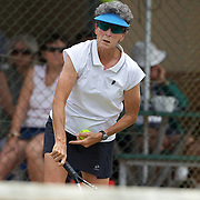 Heather McKay, Australia,  in action in the 65 Womens Singles during the 2009 ITF Super-Seniors World Team and Individual Championships at Perth, Western Australia, between 2-15th November, 2009.