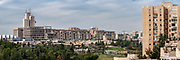 Panoramic cityscape of a modern housing project in Jerusalem, Israel