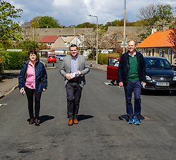 Pictured: <br />Douglas Ross was Joined by Ruth Davidson and candidate Gordon Lindhurst in Colington Mains to post leaflets asking for the peach party vote to be made in favour of the Scottish Conservatives. Ger Harley | EEm 30 April 2021