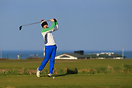 Andrew McCormack on the 1st tee during Round 4 of The West of Ireland Open Championship in Co. Sligo Golf Club, Rosses Point, Sligo on Sunday 7th April 2019.<br /> Picture:  Thos Caffrey / www.golffile.ie