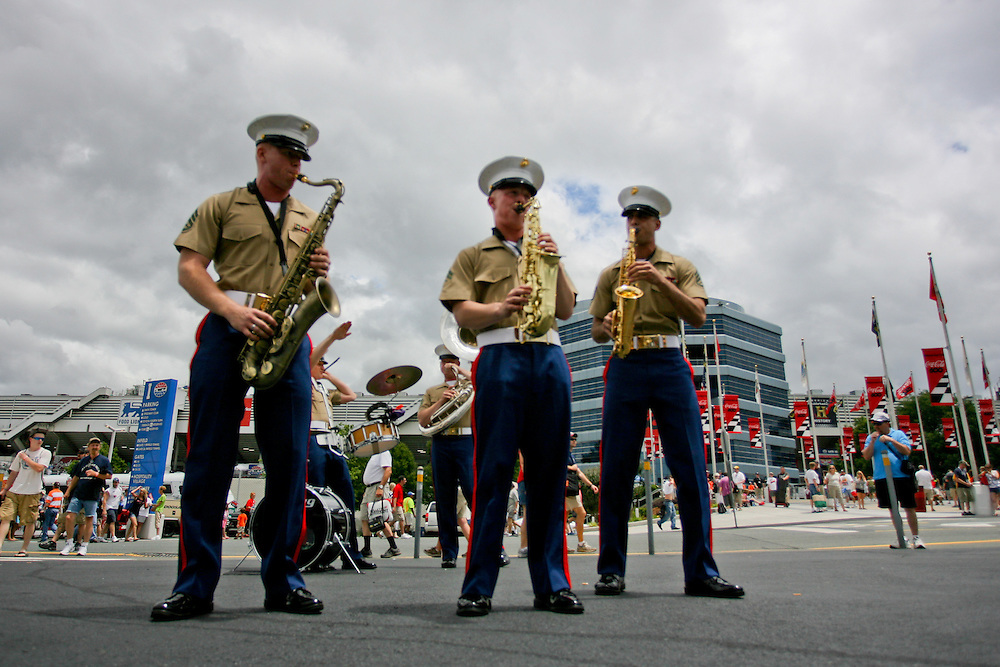 May 24, 2012; Concord, NC USA; Marine band performs prior to  for the Coca-Cola 600 at Charlotte Motor Speedway. Photo by Kevin Liles/kevindliles.com