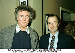 Left to right, cartoonist GRAY JOLLIFFE and HON.DAVID MCALPINE at an exhibition in London on March 18th 1997.LXD 13