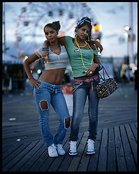 Tiffinnie Robles, 15, and Cristina Rivera, 16. Coney Island, Brooklyn. Coney Island teen-agers. Summer 2008.