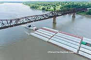 63807-01219 Barge on the Mississippi river and train crossing the Thebes bridge near Thebes, IL