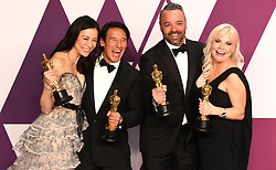 Elizabeth Chai Vasarhelyi, Jimmy Chin, Evan Hayes, and Shannon Dill with the Best Documentary Oscars award in the press room at the 91st Academy Awards held at the Dolby Theatre in Hollywood, Los Angeles, USA