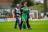 Celtic FC Manager Ronnie Deila and Celtic FC Forward Leigh Griffiths after there 2-1 win during the Ladbrokes Scottish Premiership match between Hamilton Academical FC and Celtic at New Douglas Park, Hamilton, Scotland on 4 October 2015. Photo by Craig McAllister.