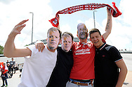 Rotherham United fans wearing Manager Steve Evans and Chairmen Tony Stewart masks before k.o. Skybet football league one play off final match , Leyton Orient  v Rotherham Utd at Wembley Stadium in  London on Sunday 25th May 2014.<br /> pic by John Patrick Fletcher, Andrew Orchard sports photography.