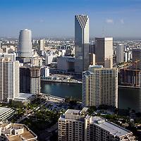 June 2004 view of the Miami River, Brickell Key condominium buildings and city hi-rise office buildings