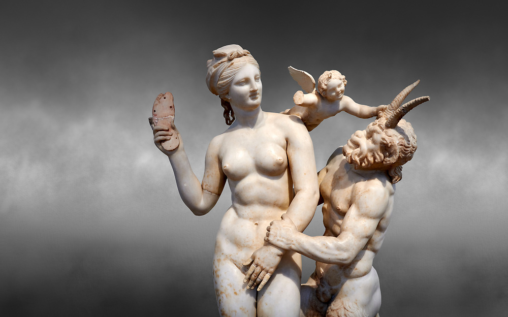 Hellenstic marble statue group of Aphrodite (Venus) with Pan and Eros, Circa 100 BC, House of Poseidonaistai of Beryttos, Delos, Athens National Archaeological Museum.  Cat no 3335. Against grey.<br /> <br /> The nude goddess Aphrodite (Venus) attempte to fend off goat footed Pan who make erotic advances towards her. Aphrodite holds a sandal in her right hand threatening Pan while the winged god Eros comes to her aid. According to an inscription on the statues base it was dedicated to Dionysus of Beryttos (Beirut) to hai ancestral gods. .<br /> <br /> If you prefer to buy from our ALAMY STOCK LIBRARY page at https://www.alamy.com/portfolio/paul-williams-funkystock/greco-roman-sculptures.html . Type -    Athens    - into LOWER SEARCH WITHIN GALLERY box - Refine search by adding a subject, place, background colour, etc.<br /> <br /> Visit our ROMAN WORLD PHOTO COLLECTIONS for more photos to download or buy as wall art prints https://funkystock.photoshelter.com/gallery-collection/The-Romans-Art-Artefacts-Antiquities-Historic-Sites-Pictures-Images/C0000r2uLJJo9_s0