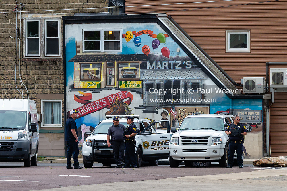 Northumberland County Sheriff's Department vehicles and personnel were staged about a block away from the George Floyd protest in Shamokin, PA. About 30 people gathered at Market and Independence Streets to protest police violence and racism.