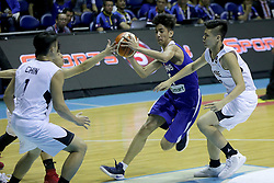 QUEZON Quezon City, May 14, 2017  Rafael Go of the Philippines (C) competes against players from Singapore during their match in the 2017 SEABA junior men's championship tournament in Quezon City, the Philippines, May 14, 2017. The Philippines won, 108-42.  2017?5?14? (Credit Image: © Rouelle Umali/Xinhua via ZUMA Wire)