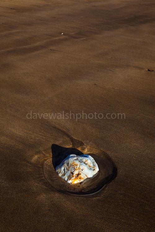 Rock on the beach Silver Strand, or Trabane Beach, near Malin Beg, Donegal, on Ireland's Wild Atlantic Way.