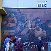 A mural depicting the history of the region of LA Boca, painted on a wall of Boca Juniors football stadium,  La Bombonera, in La Boca region of Buenos Aires, Argentina, 25th June 2010. Photo Tim Clayton..