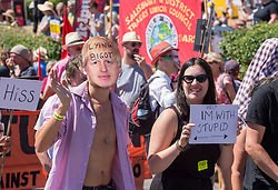 © Licensed to London News Pictures.  22/07/2018; Tolpuddle, Dorset, UK. Person in a Boris Johnson mask at The Tolpuddle Martyrs Festival for trade unionism, held every year, commemorates the birth of the trade union movement in the 19th century when the Tolpuddle Martyrs were transported to Australia for forming a trade union of agricultural labourers in Dorset. This year is also the 150th anniversary of the TUC. Photo credit: Simon Chapman/LNP