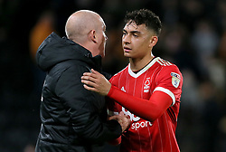 Nottingham Forest manager Mark Warburton with Tyler Walker after the game
