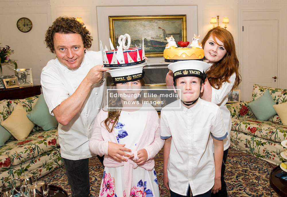 """Pictured: Tom Kitchin, Lucy Kearney (8), Alfie Bennet (11) and Vicki Tighe<br /> <br /> Chefs Tom Kitchin and Vicki Tighe  presented primary pupils Alfie Bennet and Lucy Kearney with nine-inch versions of their winning entries for the """"Design a Cake for The Queen's 90th Birthday"""" competition o the Royal Yacht Britannia today. <br /> Ger Harley 