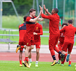 ROTTACH-EGERN, GERMANY - Friday, July 28, 2017: Liverpool's Andy Robertson and Daniel Sturridge during a training session at FC Rottach-Egern on day three of the preseason training camp in Germany. (Pic by David Rawcliffe/Propaganda)