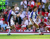 Photo. Jed Wee.<br /> Blackburn Rovers v Liverpool, FA Barclaycard Premiership, Ewood Park, Blackburn. 13/09/2003.<br /> Blackburn's Matt Jansen (R) celebrates his goal with Brett Emerton.
