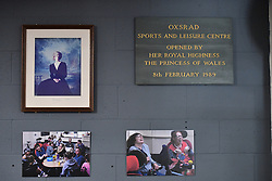 A plaque is pictured as the Duke of Sussex commemorates his visit to the OXSRAD Disability Sports and Leisure Centre, in Oxford.