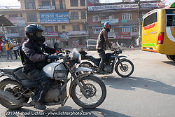 Photographer Ashwin Goswami of India and Talk Shop Podcaster Danger Dan riding Royal Enfield Himalayans in Motorcycle Sherpa's Ride to the Heavens motorcycle adventure in the Himalayas of Nepal. Riding from Daman back to Kathmandu. Wednesday, November 13, 2019. Photography ©2019 Michael Lichter.