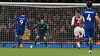 Football - 2017 / 2018 Premier League - Arsenal vs. Chelsea<br /> <br /> One on one with Petr Cech (Arsenal FC) Alvaro Morata (Chelsea FC)  puts his shot wide of the goalkeeper at The Emirates.<br /> <br /> COLORSPORT/DANIEL BEARHAM