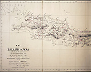 Ancient map of the west of the Island of Java from the 19th century manuscript 'Plantae Javanicae rariores, descriptae iconibusque illustratae, quas in insula Java, annis 1802-1818' (Java Plants, Description of plants on the island of Java) by Horsfield, Thomas, 1773-1859 Published in Latin in London in 1838