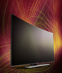 Samsung Laser Project commissioned by Harrods. Curved TV painted with laser lights.