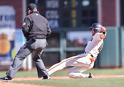 April 29, 2018 - San Francisco, CA, U.S. - SAN FRANCISCO, CA - APRIL 29: San Francisco Giants Third base Evan Longoria (10) slides into second during the San Francisco Giants and Los Angeles Dodgers game at AT&T Park on April 29, 2018 in San Francisco, CA.  (Photo by Stephen Hopson/Icon Sportswire) (Credit Image: © Stephen Hopson/Icon SMI via ZUMA Press)
