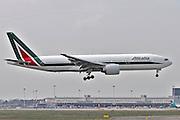 Alitalia Boeing 777. Photographed at Malpensa airport, Milan, Italy