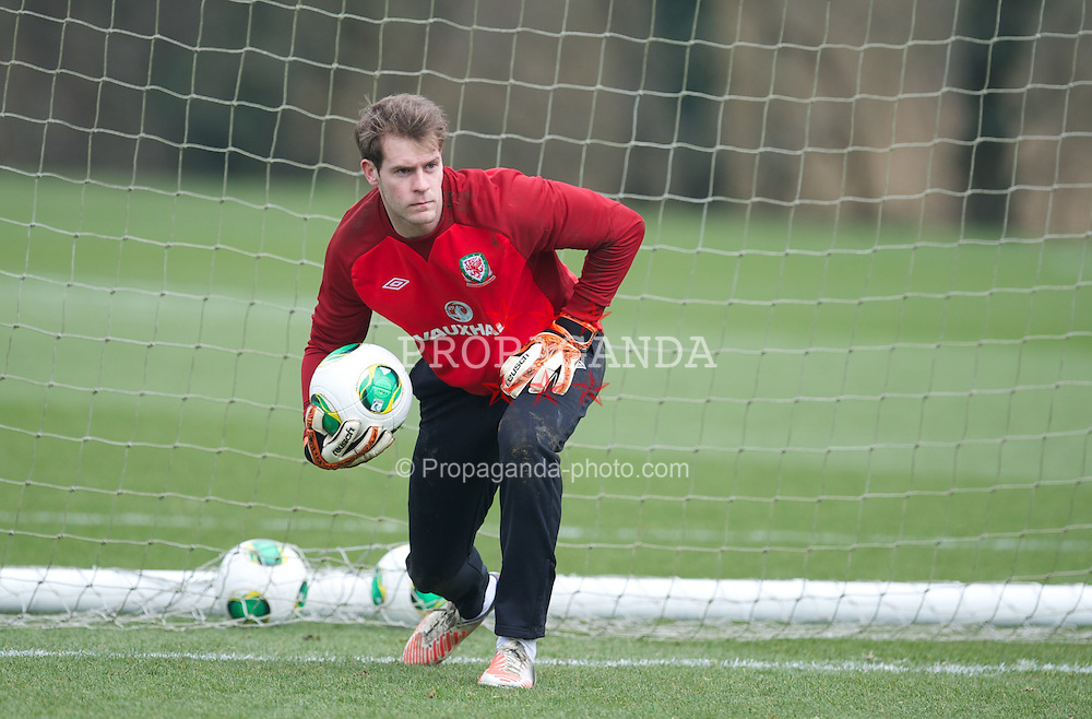 CARDIFF, WALES - Wednesday, March 20, 2013: Wales' goalkeeper Owain Fon Williams during a training session at the Vale of Glamorgan ahead of the 2014 FIFA World Cup Brazil Qualifying Group A match against Scotland. (Pic by David Rawcliffe/Propaganda)