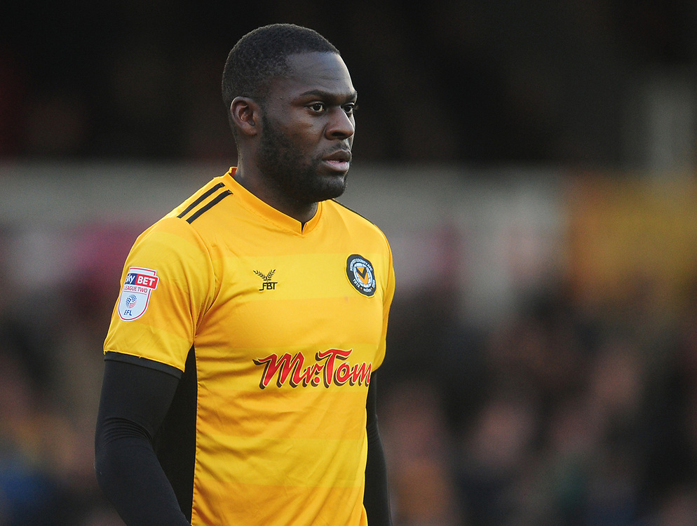 Newport County's Frank Nouble<br /> <br /> Photographer Kevin Barnes/CameraSport<br /> <br /> The EFL Sky Bet League Two - Newport County v Lincoln City - Saturday 23rd December 2017 - Rodney Parade - Newport<br /> <br /> World Copyright © 2017 CameraSport. All rights reserved. 43 Linden Ave. Countesthorpe. Leicester. England. LE8 5PG - Tel: +44 (0) 116 277 4147 - admin@camerasport.com - www.camerasport.com