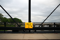 April 30, 2017 - Harrisburg, Pennsylvania, United States - One-mile marker intended for a leisure run is mounted on Walnut St. Bridge, over the Susquehanna River, in Harrisburg, PA, on April 30, 2017. Diminishing retail, crumbling infrastructure, environmental issues, poverty and unemployment are shown in a view on the current state of a section of rural America on day 101 of Trump's Presidency. The Keystone state Pennsylvania formed an important factor in Trump's victory in the 2016 US elections. (Credit Image: © Bastiaan Slabbers/NurPhoto via ZUMA Press)