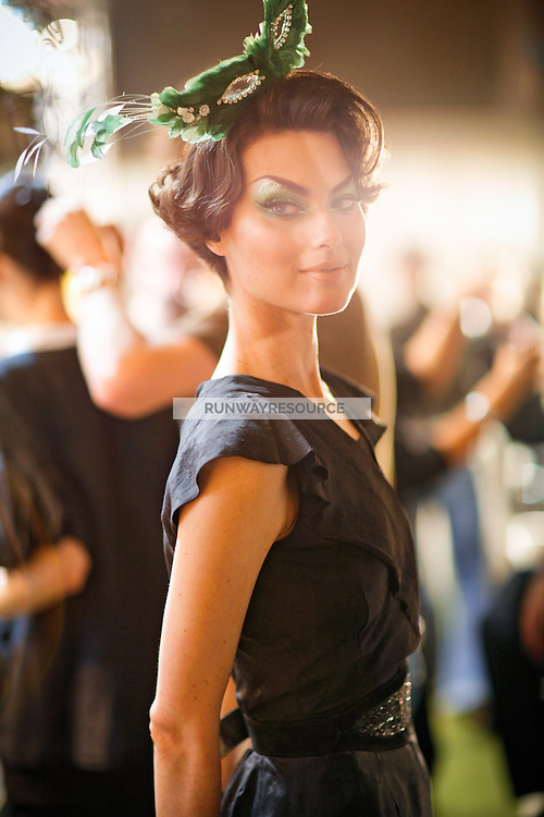 Shalom Harlow Backstage at Christian Dior Couture Fall 2007